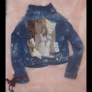 Upcycled Stevie nicks denim jacket  distressed